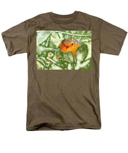 Men's T-Shirt  (Regular Fit) featuring the photograph Winter Robin by LemonArt Photography