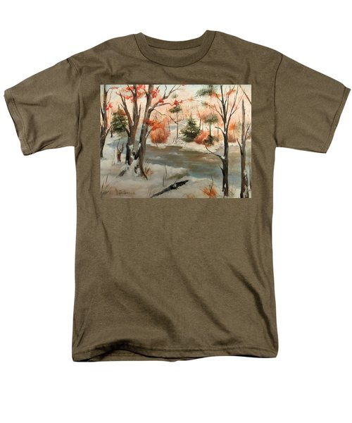 Winter Stream Men's T-Shirt  (Regular Fit) by Roseann Gilmore