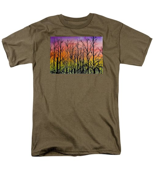 Men's T-Shirt  (Regular Fit) featuring the painting Winter Trees At Sunset by Ellen Canfield