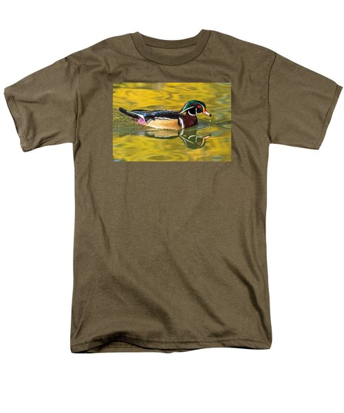 Wood Duck On Golden Pond Men's T-Shirt  (Regular Fit) by Stephen  Johnson