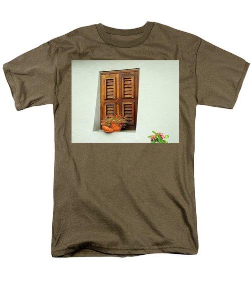 Men's T-Shirt  (Regular Fit) featuring the photograph Wood Shuttered Window, Island Of Curacao by Kurt Van Wagner