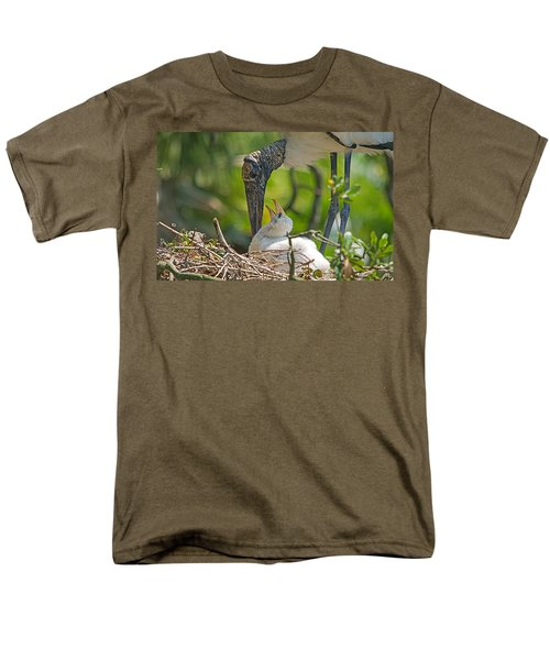 Wood Stork Chick And Mom Men's T-Shirt  (Regular Fit) by Kenneth Albin