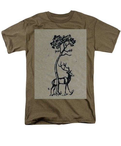 Woodcut Deer Men's T-Shirt  (Regular Fit) by Shirley Heyn