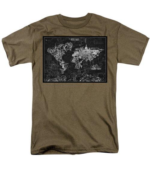 Men's T-Shirt  (Regular Fit) featuring the digital art World Map Blueprint 2 by Bekim Art