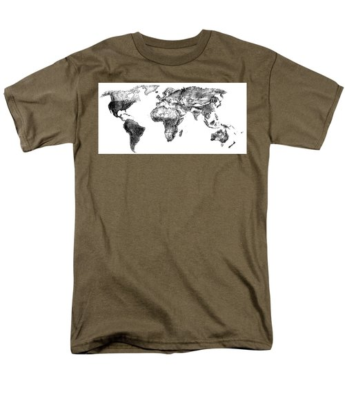 Men's T-Shirt  (Regular Fit) featuring the drawing World Map In Graphite by Heidi Kriel