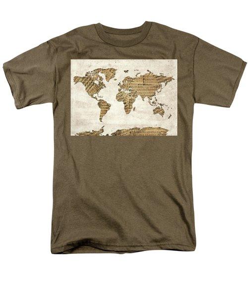 Men's T-Shirt  (Regular Fit) featuring the digital art World Map Music 9 by Bekim Art