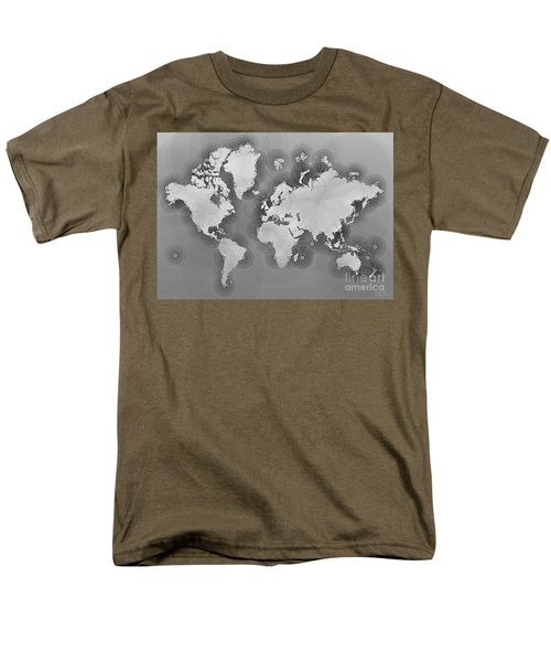 World Map Zona In Black And White Men's T-Shirt  (Regular Fit) by Eleven Corners