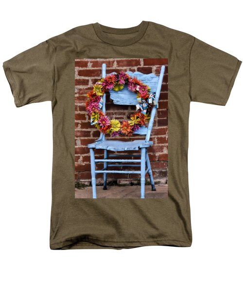Men's T-Shirt  (Regular Fit) featuring the photograph Wreath In A Chair by Joan Bertucci