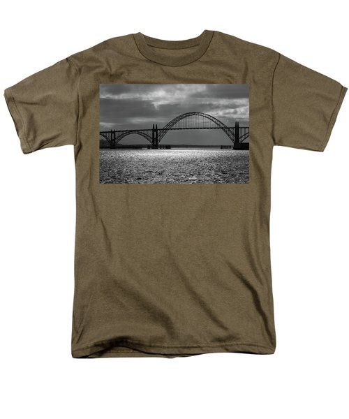 Yaquina Bay Bridge Black And White Men's T-Shirt  (Regular Fit) by James Eddy