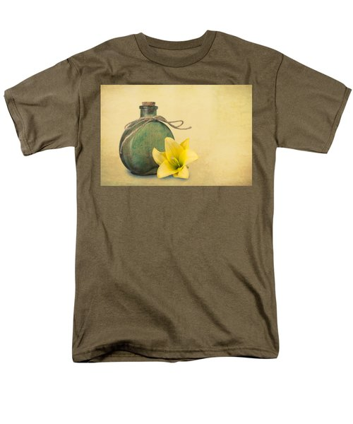 Yellow Lily And Green Bottle II Men's T-Shirt  (Regular Fit) by Tom Mc Nemar