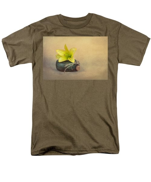 Men's T-Shirt  (Regular Fit) featuring the photograph Yellow Lily And Green Bottle by Tom Mc Nemar
