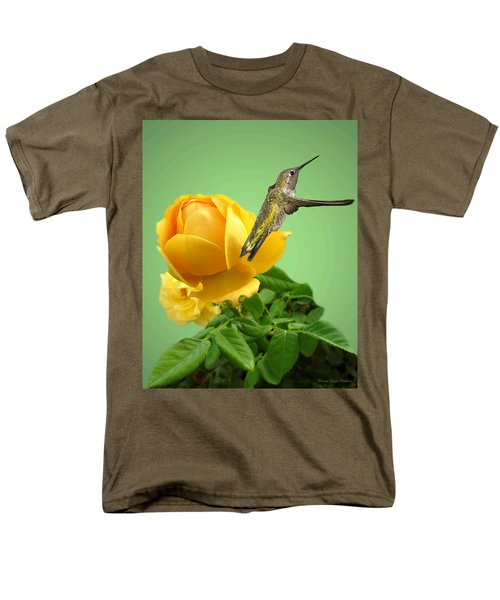 Yellow Rose And Hummingbird 2 Men's T-Shirt  (Regular Fit) by Joyce Dickens