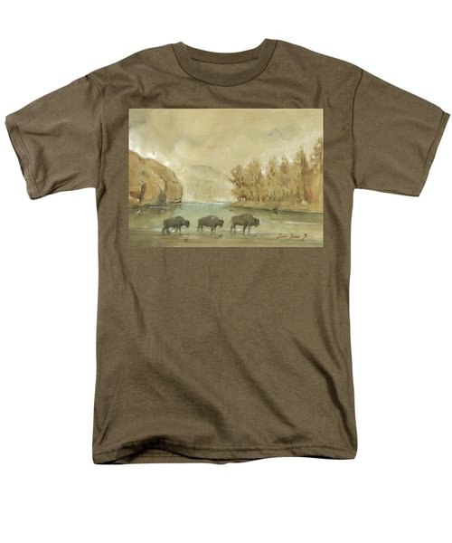 Yellowstone And Bisons Men's T-Shirt  (Regular Fit) by Juan Bosco
