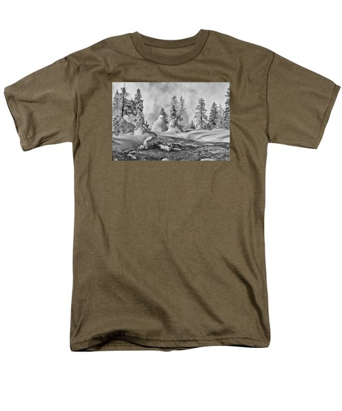 Men's T-Shirt  (Regular Fit) featuring the photograph Yellowstone In Winter by Gary Lengyel