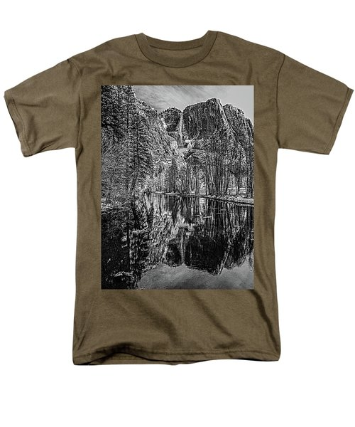 Men's T-Shirt  (Regular Fit) featuring the photograph Yosemite Falls From The Swinging Bridge In Black And White by Bill Gallagher