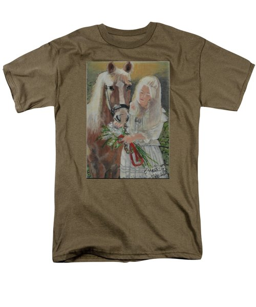 Young Woman With Horse Men's T-Shirt  (Regular Fit) by Francine Heykoop