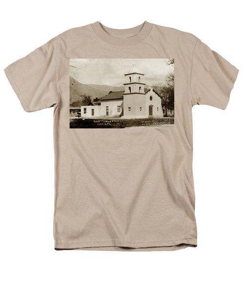 Men's T-Shirt  (Regular Fit) featuring the photograph  St. Thomas Aquinas Catholic Church  Ojai Cal 1920 by California Views Mr Pat Hathaway Archives