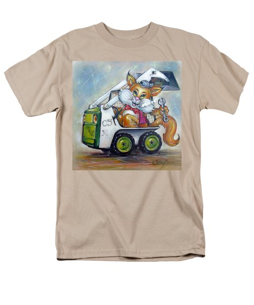 Men's T-Shirt  (Regular Fit) featuring the painting Cat C5x 190312 by Selena Boron