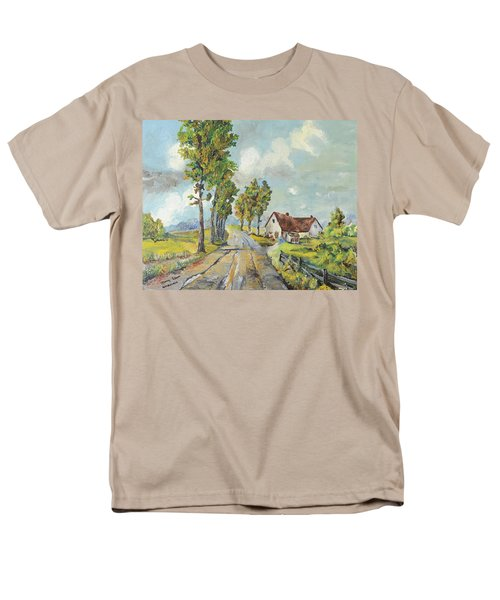 Men's T-Shirt  (Regular Fit) featuring the painting Cottage On Poplar Lane by Mary Ellen Anderson