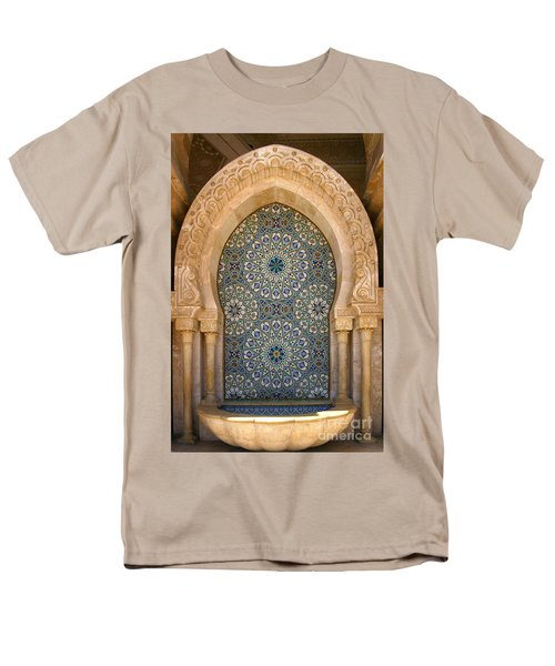 Men's T-Shirt  (Regular Fit) featuring the photograph Holy Water Fountain Hassan II Mosque Sour Jdid Casablanca Morocco  by Ralph A  Ledergerber-Photography