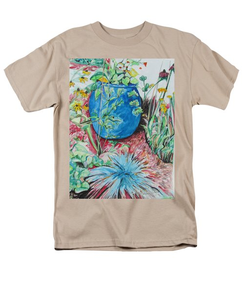 Men's T-Shirt  (Regular Fit) featuring the painting The Blue Flower Pot by Esther Newman-Cohen