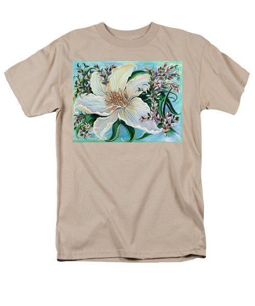 Men's T-Shirt  (Regular Fit) featuring the painting White Lily by Yolanda Rodriguez
