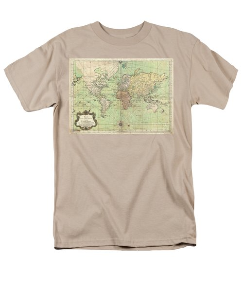1778 Bellin Nautical Chart Or Map Of The World Men's T-Shirt  (Regular Fit) by Paul Fearn