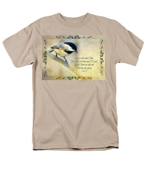 Chickadee With Verse Men's T-Shirt  (Regular Fit) by Debbie Portwood