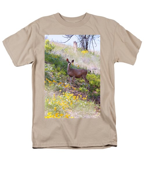 Men's T-Shirt  (Regular Fit) featuring the photograph Deer In Wildflowers by Athena Mckinzie