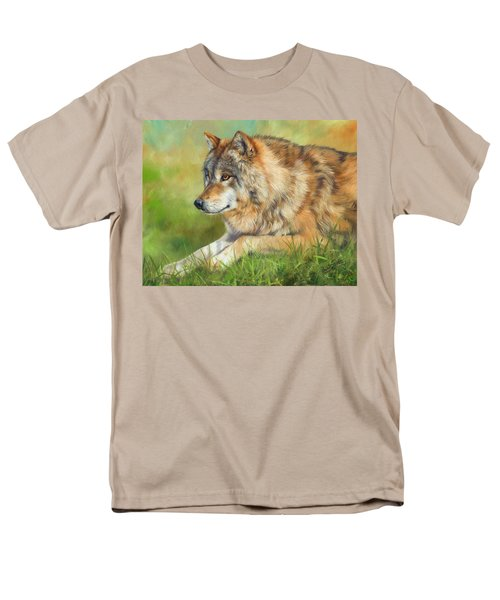 Grey Wolf Men's T-Shirt  (Regular Fit) by David Stribbling