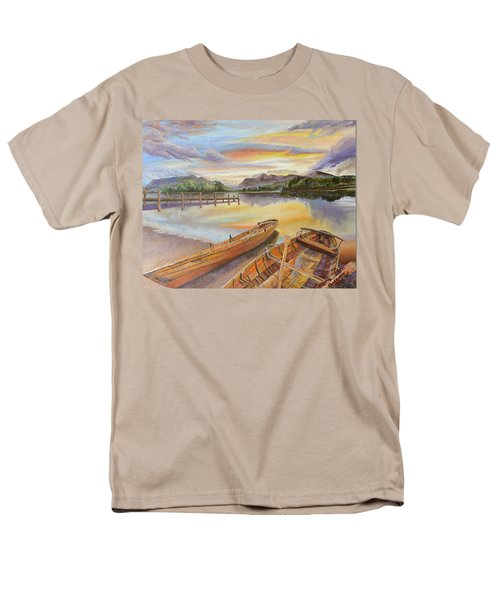 Men's T-Shirt  (Regular Fit) featuring the painting Sunset Over Serenity Lake by Mary Ellen Anderson