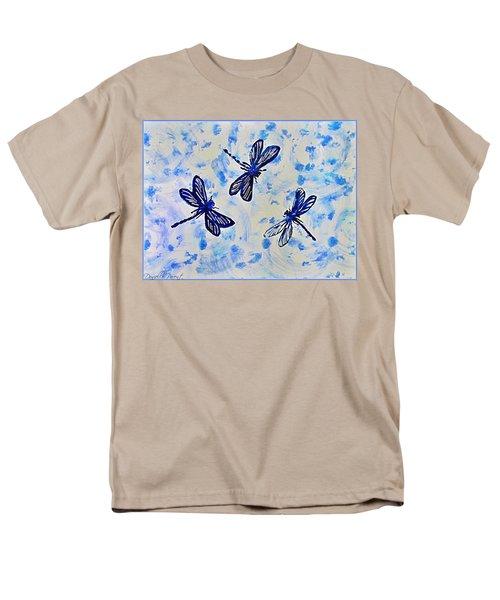 3 Blue Dragonflies Alcohol Ink Men's T-Shirt  (Regular Fit) by Danielle  Parent