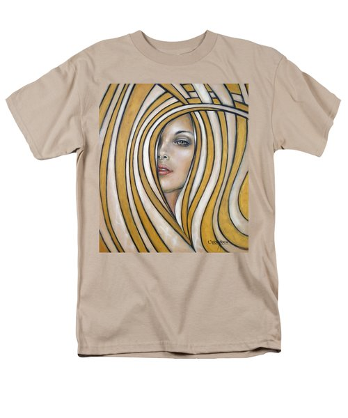 Men's T-Shirt  (Regular Fit) featuring the painting Golden Dream 060809 by Selena Boron