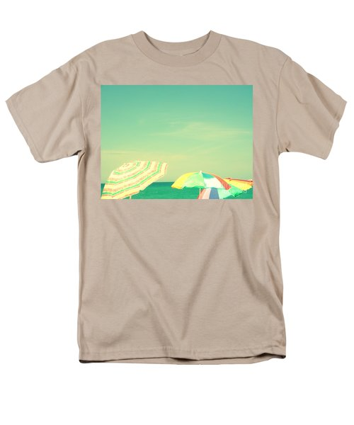 Men's T-Shirt  (Regular Fit) featuring the digital art Aqua Sky With Umbrellas by Valerie Reeves