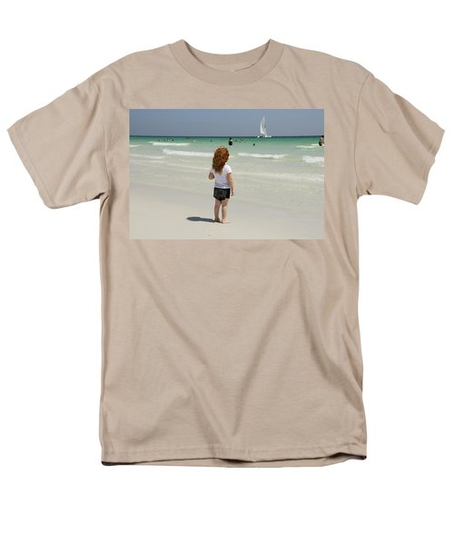 As The Sail Boat Rolls By Men's T-Shirt  (Regular Fit) by Charles Beeler