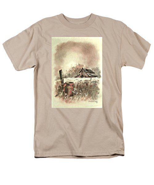 Men's T-Shirt  (Regular Fit) featuring the painting Autumn In View At Mac Gregors Barn by Carol Wisniewski