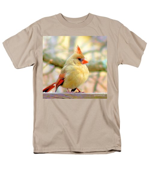 Men's T-Shirt  (Regular Fit) featuring the photograph Baby Female Cardinal by Janette Boyd