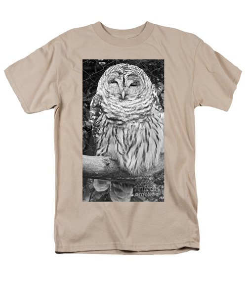 Men's T-Shirt  (Regular Fit) featuring the photograph Barred Owl In Black And White by John Telfer