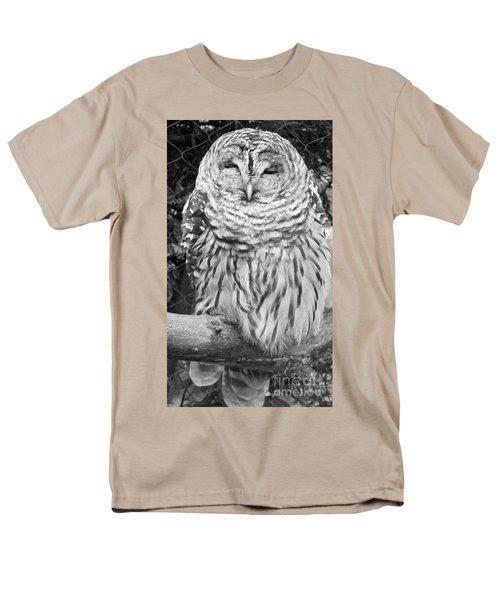Barred Owl In Black And White Men's T-Shirt  (Regular Fit) by John Telfer