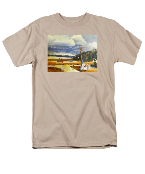 Men's T-Shirt  (Regular Fit) featuring the painting Beached Boat And Fishing Boat At Gippsland Lake by Pamela  Meredith