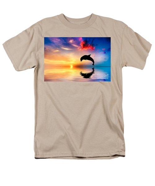 Beautiful Ocean And Sunset With Dolphin Jumping Men's T-Shirt  (Regular Fit) by Michal Bednarek