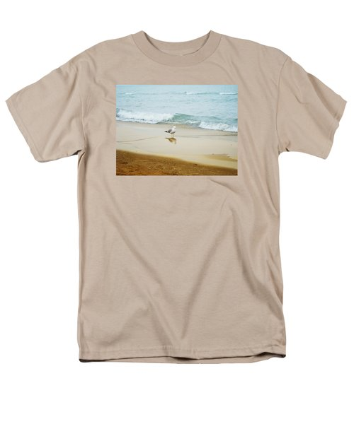 Men's T-Shirt  (Regular Fit) featuring the photograph Bird On The Beach by Milena Ilieva