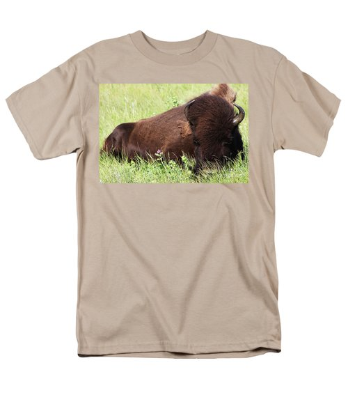 Men's T-Shirt  (Regular Fit) featuring the photograph Bison Nap by Alyce Taylor