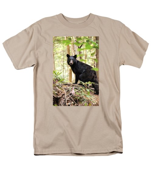 Black Bear Smile Men's T-Shirt  (Regular Fit) by Debbie Green
