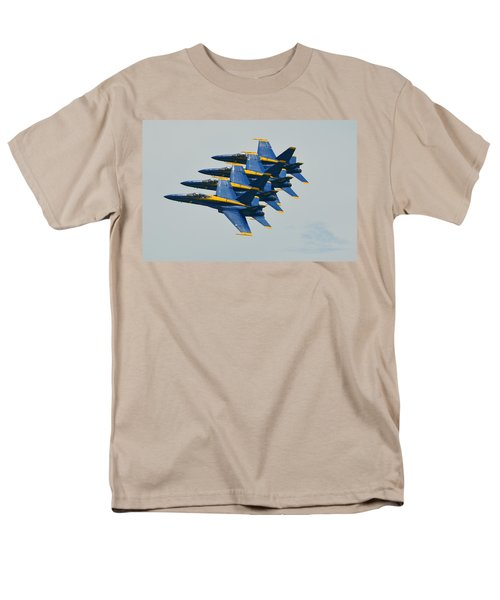Men's T-Shirt  (Regular Fit) featuring the photograph Blue Angels Practice Echelon Formation by Jeff at JSJ Photography