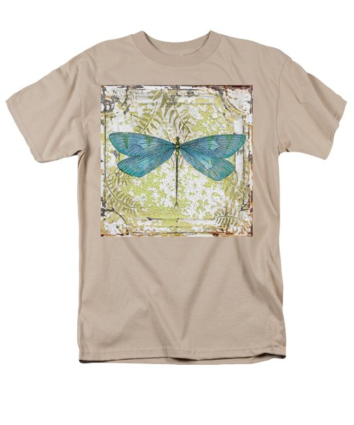 Blue Dragonfly On Vintage Tin Men's T-Shirt  (Regular Fit) by Jean Plout