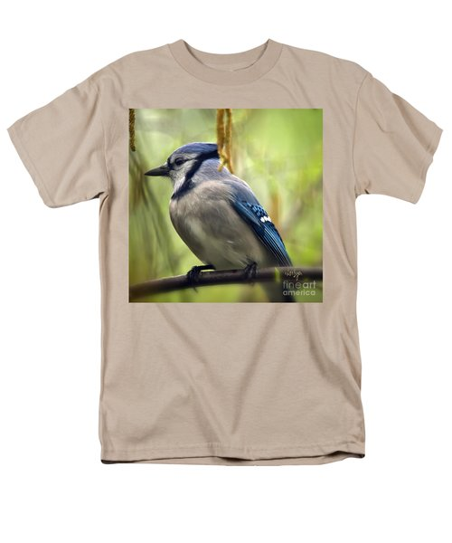 Blue Jay On A Misty Spring Day - Square Format Men's T-Shirt  (Regular Fit) by Lois Bryan