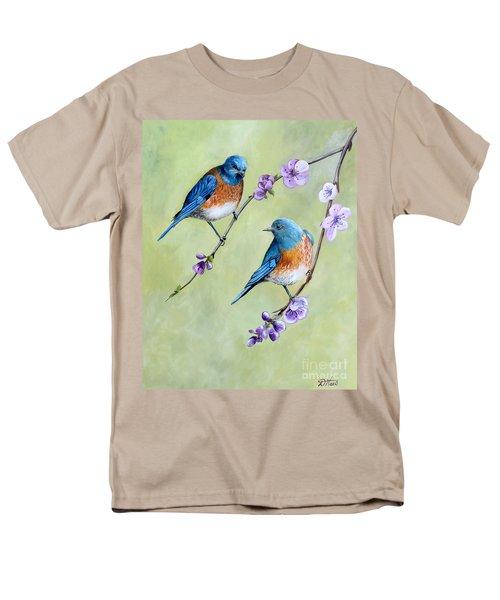Bluebirds And Blossoms Men's T-Shirt  (Regular Fit) by Debbie Hart