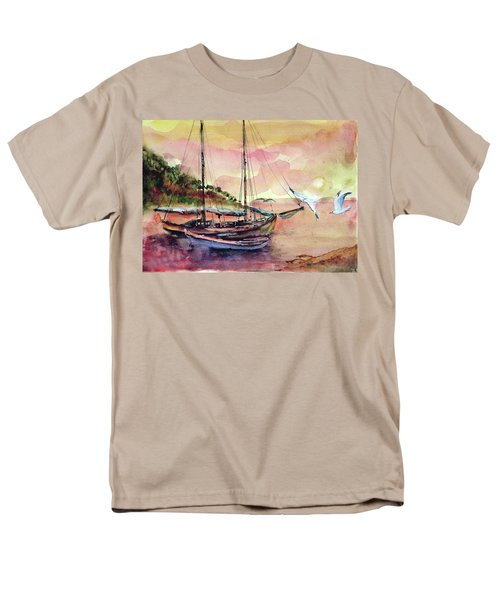 Men's T-Shirt  (Regular Fit) featuring the painting Boats In Sunset  by Faruk Koksal
