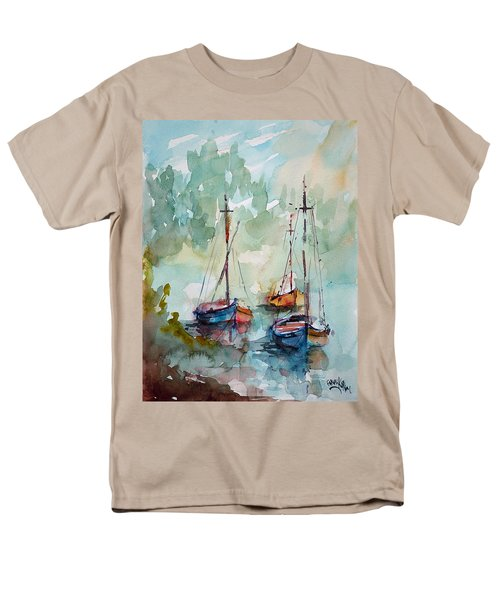 Men's T-Shirt  (Regular Fit) featuring the painting Boats On Lake  by Faruk Koksal